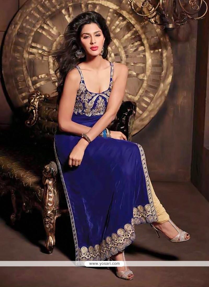 Pristine Blue Velvet Zari Churidar Salwar Suit