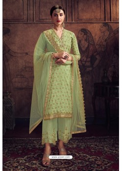 Green Rangoli Georgette Designer Suit
