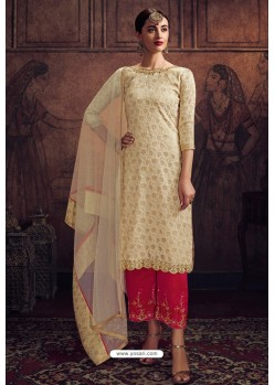 Off White And Red Rangoli Georgette Designer Suit
