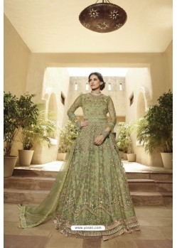 Green Heavy Designer Net Party Wear Suit