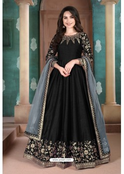 Black Adda Silk Party Wear Anarkali Suit