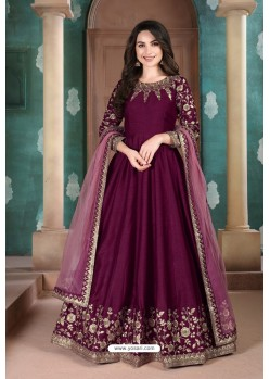 Purple Adda Silk Party Wear Anarkali Suit