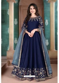 Navy Blue Adda Silk Party Wear Anarkali Suit