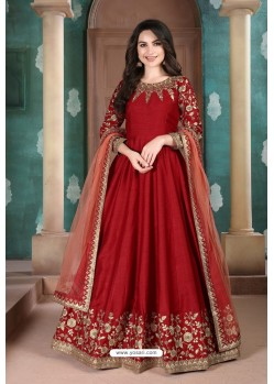 Red Adda Silk Party Wear Anarkali Suit