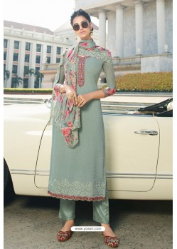 Grayish Green Pure Georgette Party Wear Straight Suit