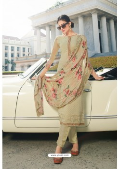 Cream Pure Georgette Party Wear Straight Suit