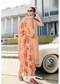 Peach Pure Georgette Party Wear Straight Suit