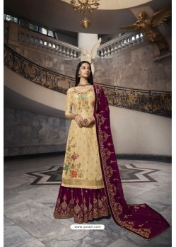 Cream And Violet Pure Dola Jacquard Heavy Designer Suit