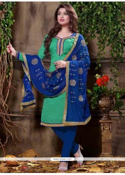 Arresting Jacquard Embroidered Work Churidar Designer Suit