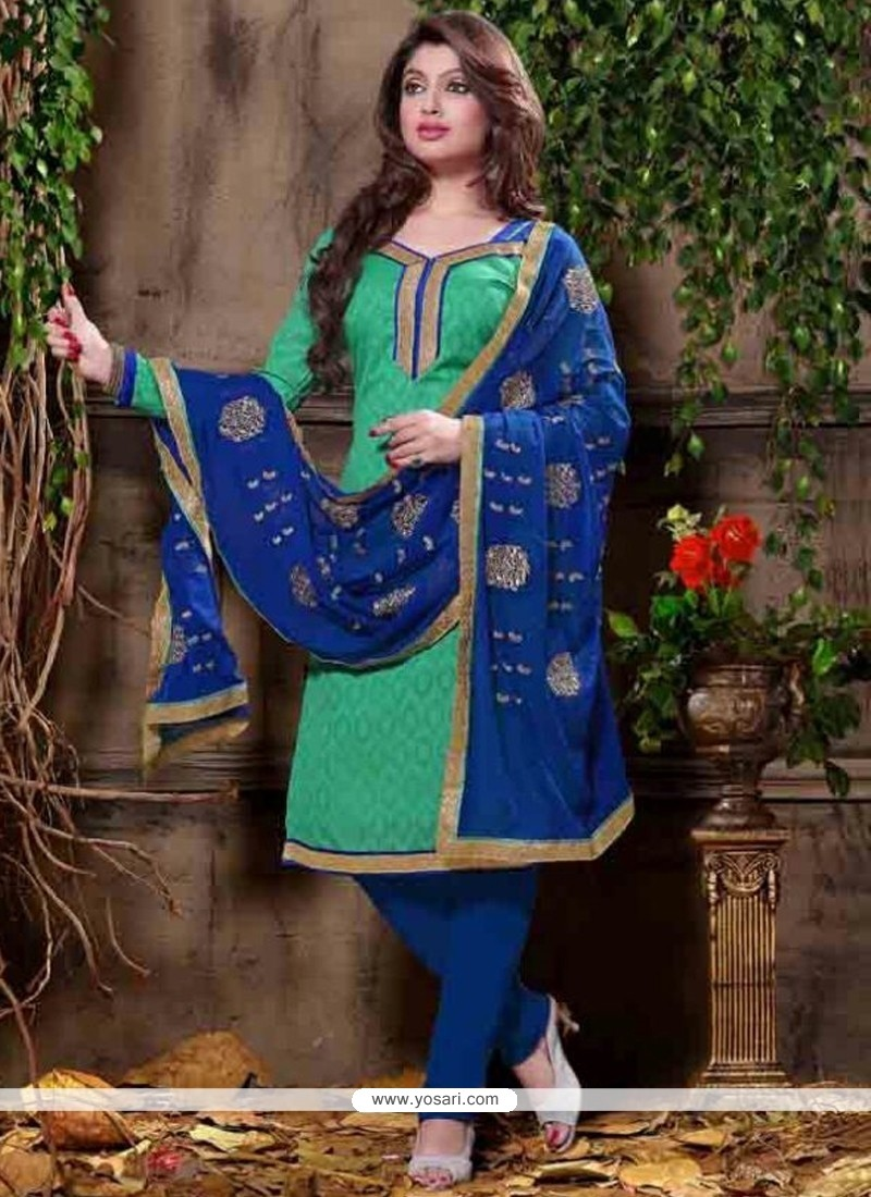 Arresting Jacquard Embroidered Work Churidar Designer Suit
