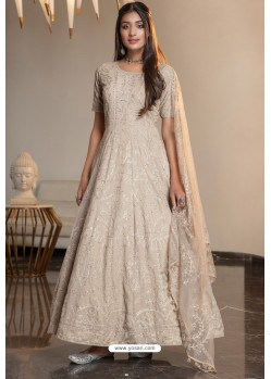 Beige Diamond Georgette Designer Anarkali Long Gown