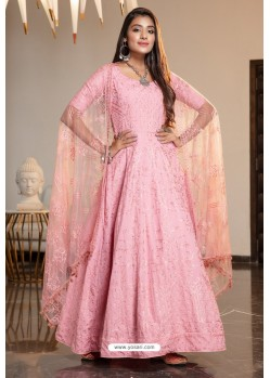 Pink Diamond Georgette Designer Anarkali Long Gown