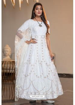 White Diamond Georgette Designer Anarkali Long Gown
