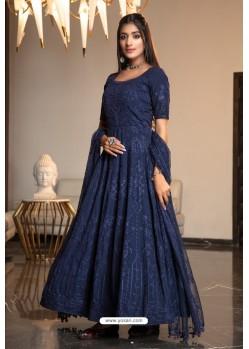 Navy Blue Diamond Georgette Designer Anarkali Long Gown