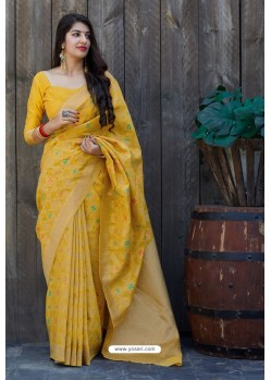 Yellow Silk Weaving Jacquard Work Designer Saree