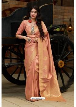 Peach Silk Weaving Jacquard Work Designer Saree