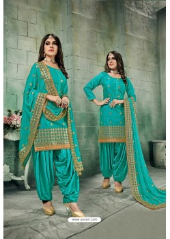 Teal Green Chanderi Silk Party Wear Patiala Suit
