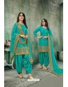 Teal Green Chanderi Silk Party Wear Patiala Suit