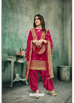 Rose Red Chanderi Silk Party Wear Patiala Suit