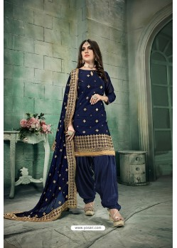 Navy Blue Chanderi Silk Party Wear Patiala Suit