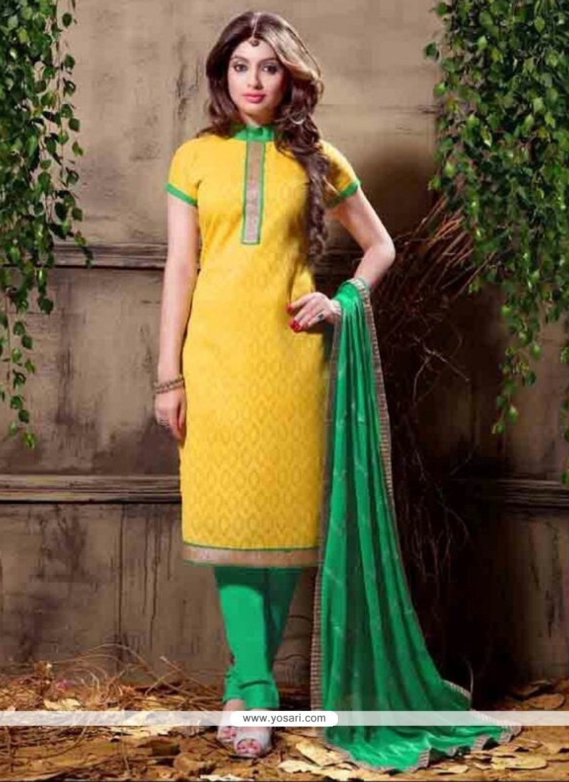 Delectable Embroidered Work Yellow Churidar Designer Suit