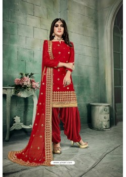 Red Chanderi Silk Party Wear Patiala Suit