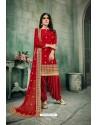 Red Chanderi Silk Party Wear Patiala Suit