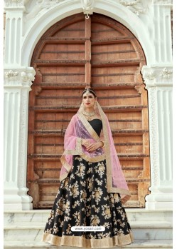 Black Heavy Crepe Silk Designer Lehenga Choli