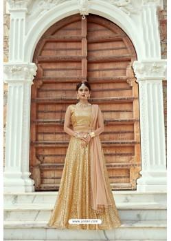 Golden Heavy Soft Net Designer Lehenga Choli