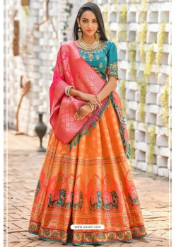 Orange And Teal Banarasi Silk Designer Lehenga Choli
