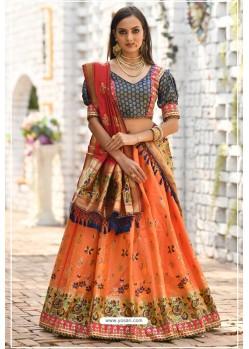 Orange And Navy Banarasi Silk Designer Lehenga Choli