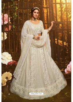 Beautiful White Designer Georgette Wedding Lehenga Choli
