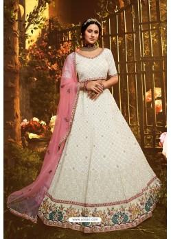 Tremendous White Designer Georgette Wedding Lehenga Choli