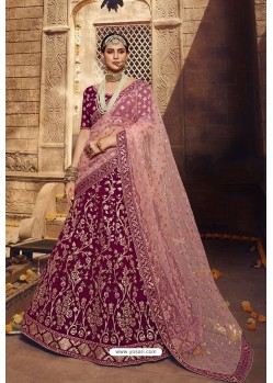 Wine Designer Georgette Wedding Lehenga Choli