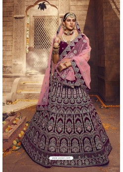 Pretty Wine Designer Velvet Wedding Lehenga Choli