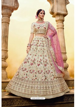 Off White Designer Georgette Wedding Lehenga Choli
