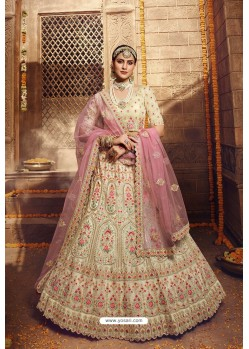 Cream Designer Organza Wedding Lehenga Choli