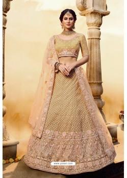Golden Designer Soft Net Silk Wedding Lehenga Choli