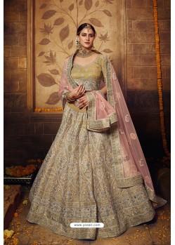 Elegant Gold Designer Soft Net Silk Wedding Lehenga Choli