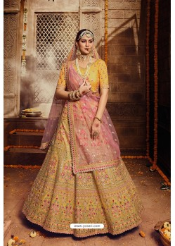 Yellow Designer Organza Wedding Lehenga Choli