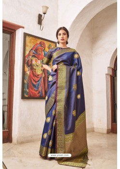 Navy Blue Designer Classic Wear Soft Silk Saree