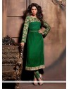 Observable Green Velvet Churidar Salwar Kameez