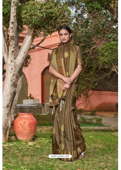 Brown Designer Classic Wear Soft Silk Saree