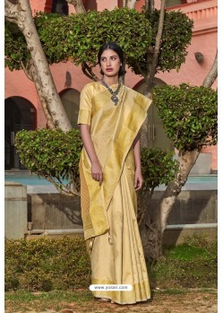 Gold Designer Classic Wear Soft Silk Saree