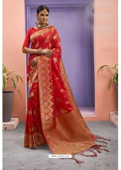 Red Designer Party Wear Art Silk Saree