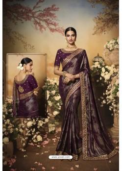 Dark Purple Latest Designer Party Wear Saree
