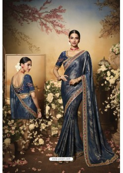 Blue Latest Designer Party Wear Saree