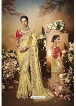 Cream Latest Designer Party Wear Saree