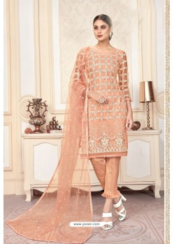 Peach Butterfly Net Party Wear Designer Suit