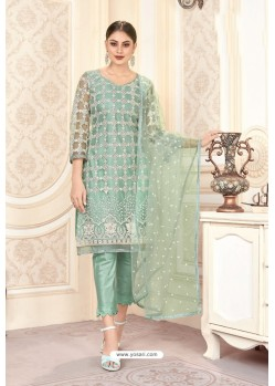 Sea Green Butterfly Net Party Wear Designer Suit